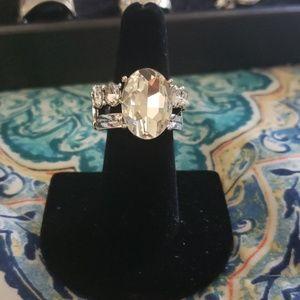 White gemstone ring